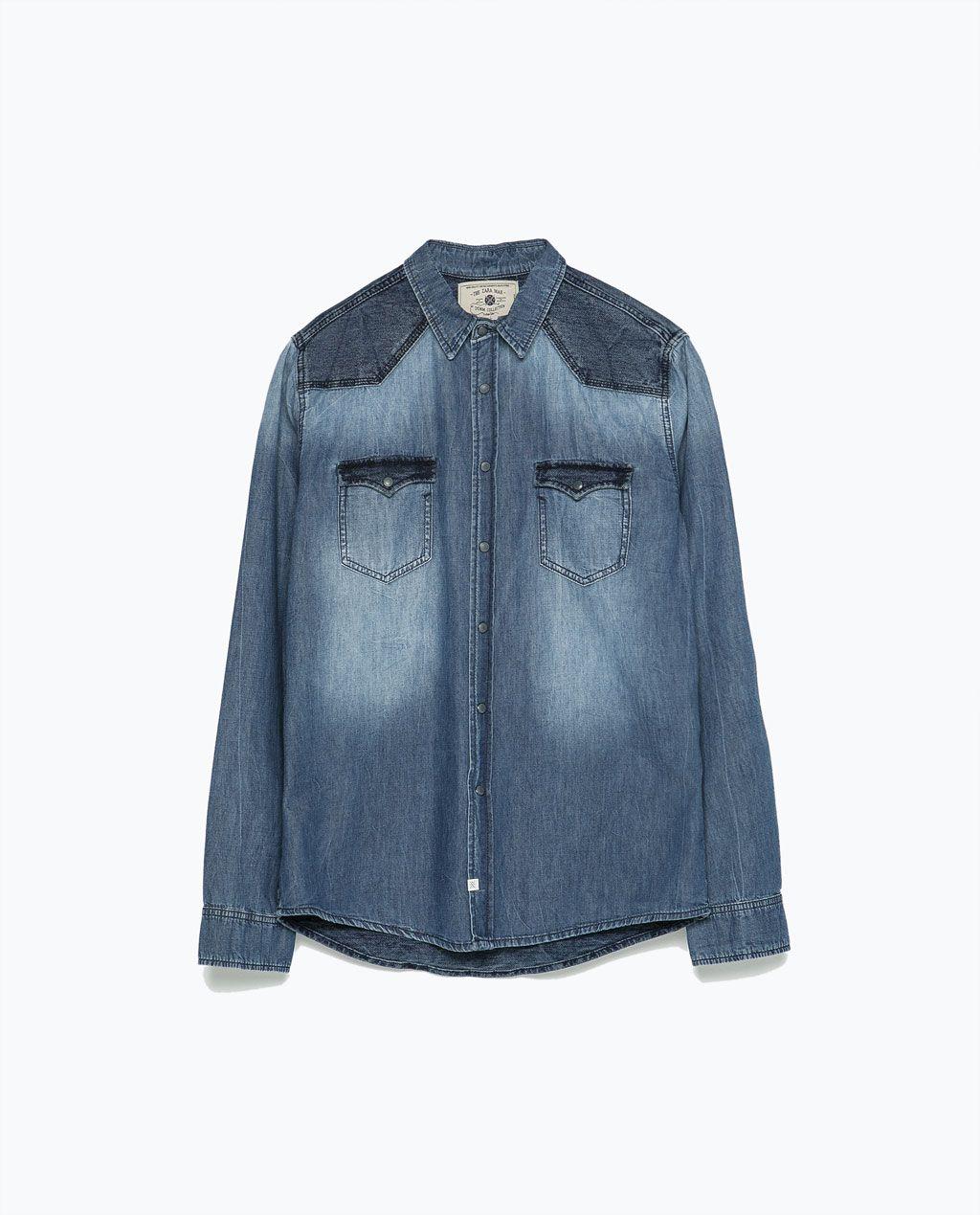 Jeans Overhemd Heren.Zara Heren Gecombineerd Denim Overhemd Shirts Men Denim