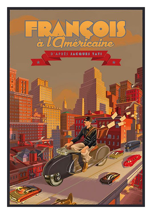 Francois a l Americaine Vintage Poster, available at 45x32cm. This poster is printed on matt coated 350 gram paper.