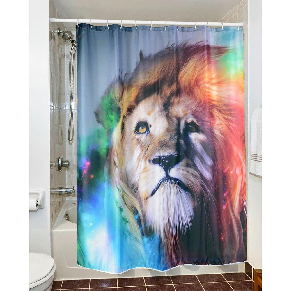 Digital Print Waterproof And Mildewproof Shower Curtain Lion Size