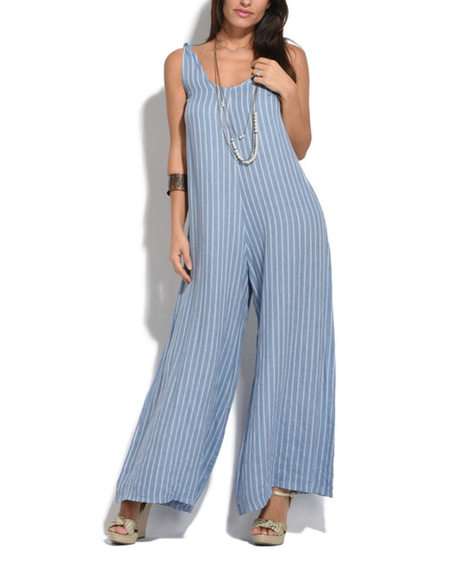Take a look at this Couleur Lin Faded Blue Daniel Linen Jumpsuit ...