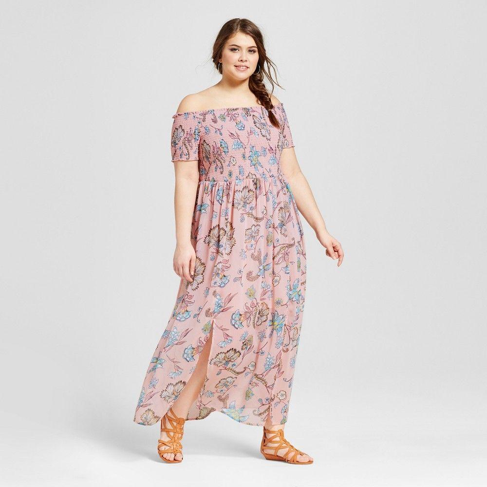 Plus size maxi dresses for summer wedding  Womenus Plus Size Off the Shoulder Maxi Dress Pink Print X