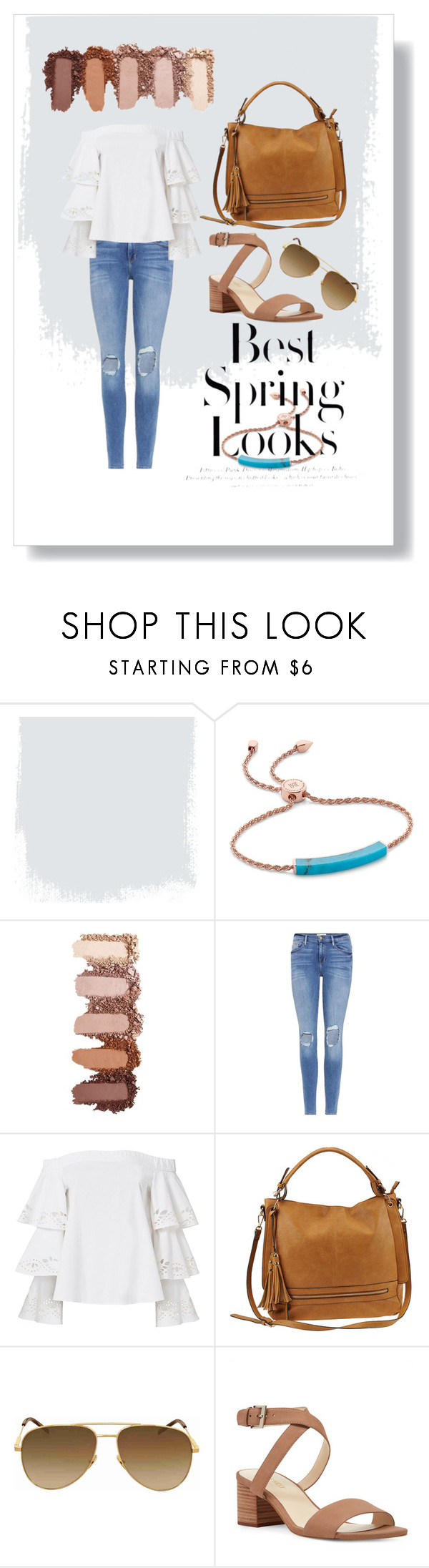 """Spring Look"" by poly-closet ❤ liked on Polyvore featuring Monica Vinader, H&M, Frame, Exclusive for Intermix, Urban Expressions, Yves Saint Laurent, Nine West, Spring, ootd and simpleoutfit"