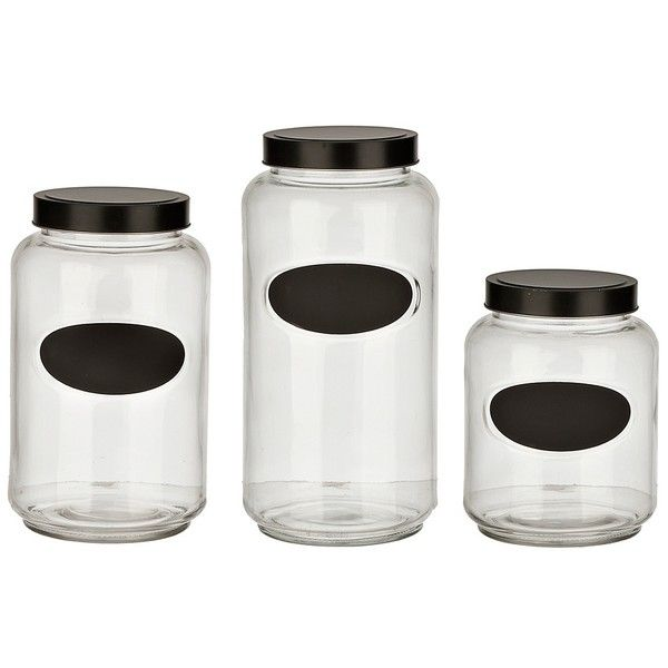 Glass And Chalkboard Kitchen Canisters Set Of 3 20 Liked On