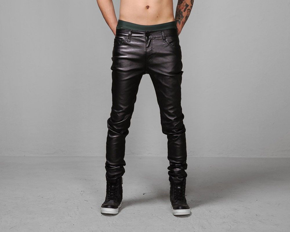 Mens Hybrid Heavy Coated Leather Effect Super Skinny Jeans at ...