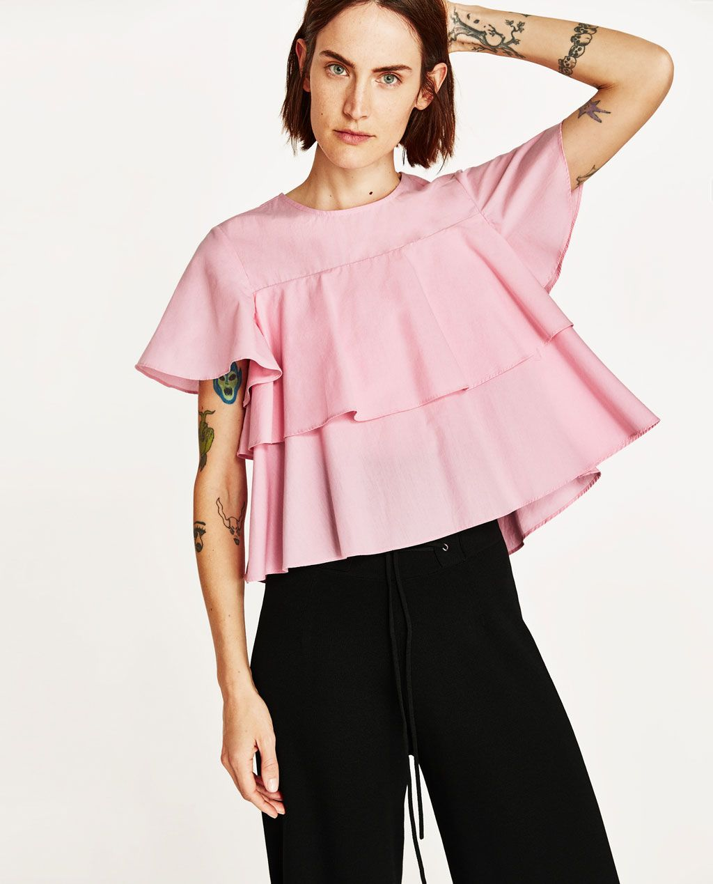 d83aa5c03db BLOUSE WITH DOUBLE RUFFLE-View All-TOPS-WOMAN | ZARA United States ...
