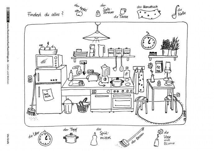 leben und wohnen k che grafe f r kinder deutsch lernen kinder kinder arbeitsbl tter und. Black Bedroom Furniture Sets. Home Design Ideas
