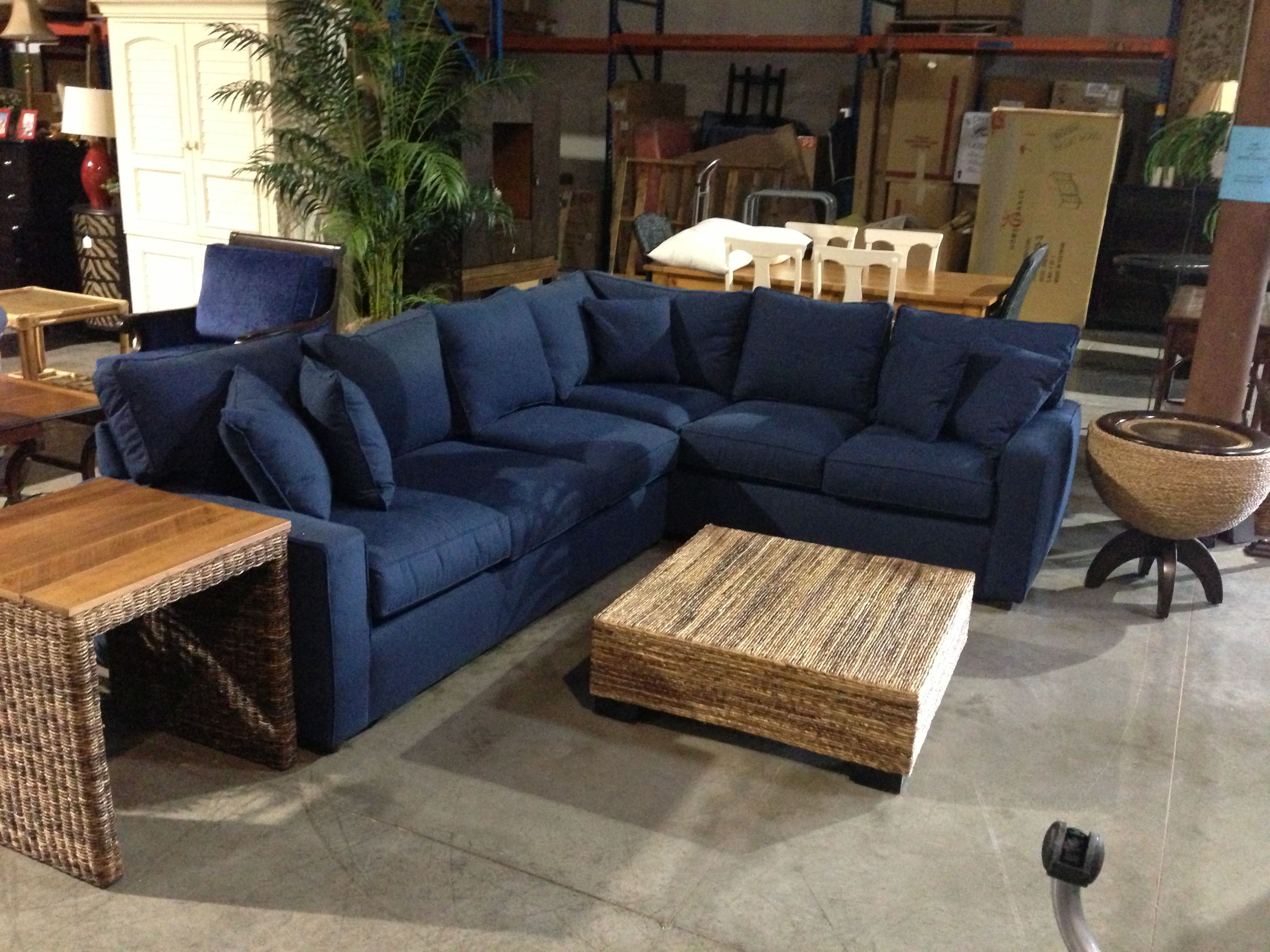 Rowe Navy Sectional Sofa Tropical Beachy Style For My Home Sofa