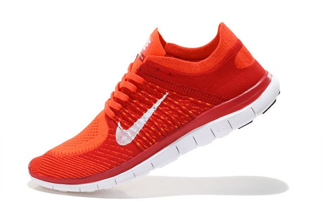 Nike Free 4 0 Flyknit Men Red Orange White Running Shoes Nike Free Shoes Nike Free Nike Free Flyknit