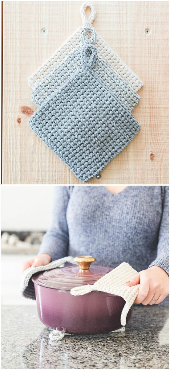 Double Thick Potholders Free Crochet Pattern #potholders