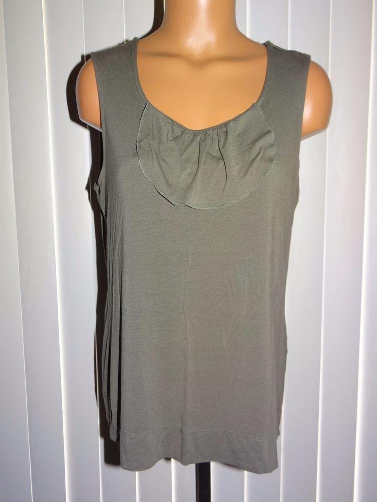 55efcf3b8d67f6 Chico s Sleeveless Tank Top Shirt Size 2 Medium Olive Green Ruffle  Chicos   TankCami  Casual