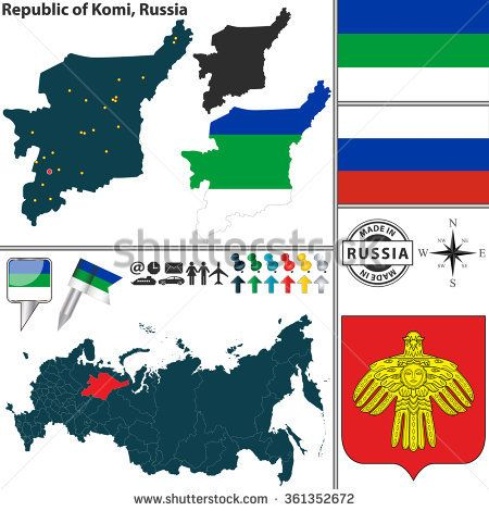Vector map of state Republic of Komi with coat of arms and