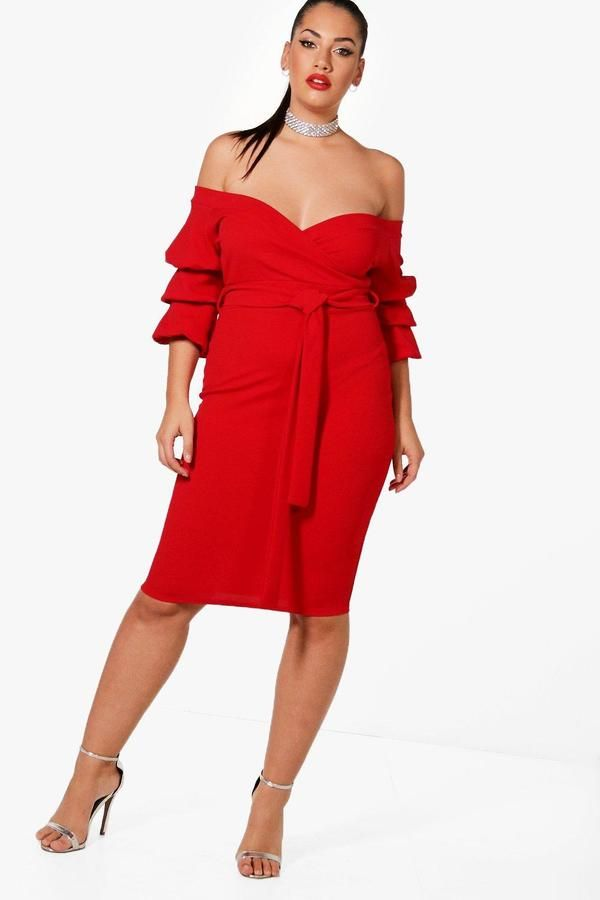 Boohoo Plus Darcy Off Shoulder Rouched Dress Rouched Dress Dresses Trending Dresses