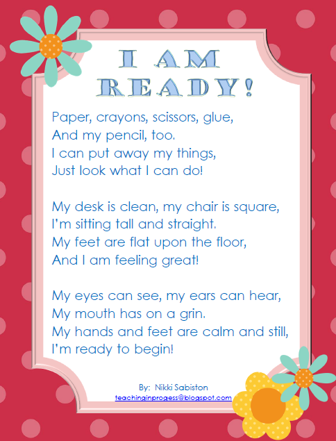 Kinder Garden: A Song/poem For Clean Up Or Transitions. It Gives A