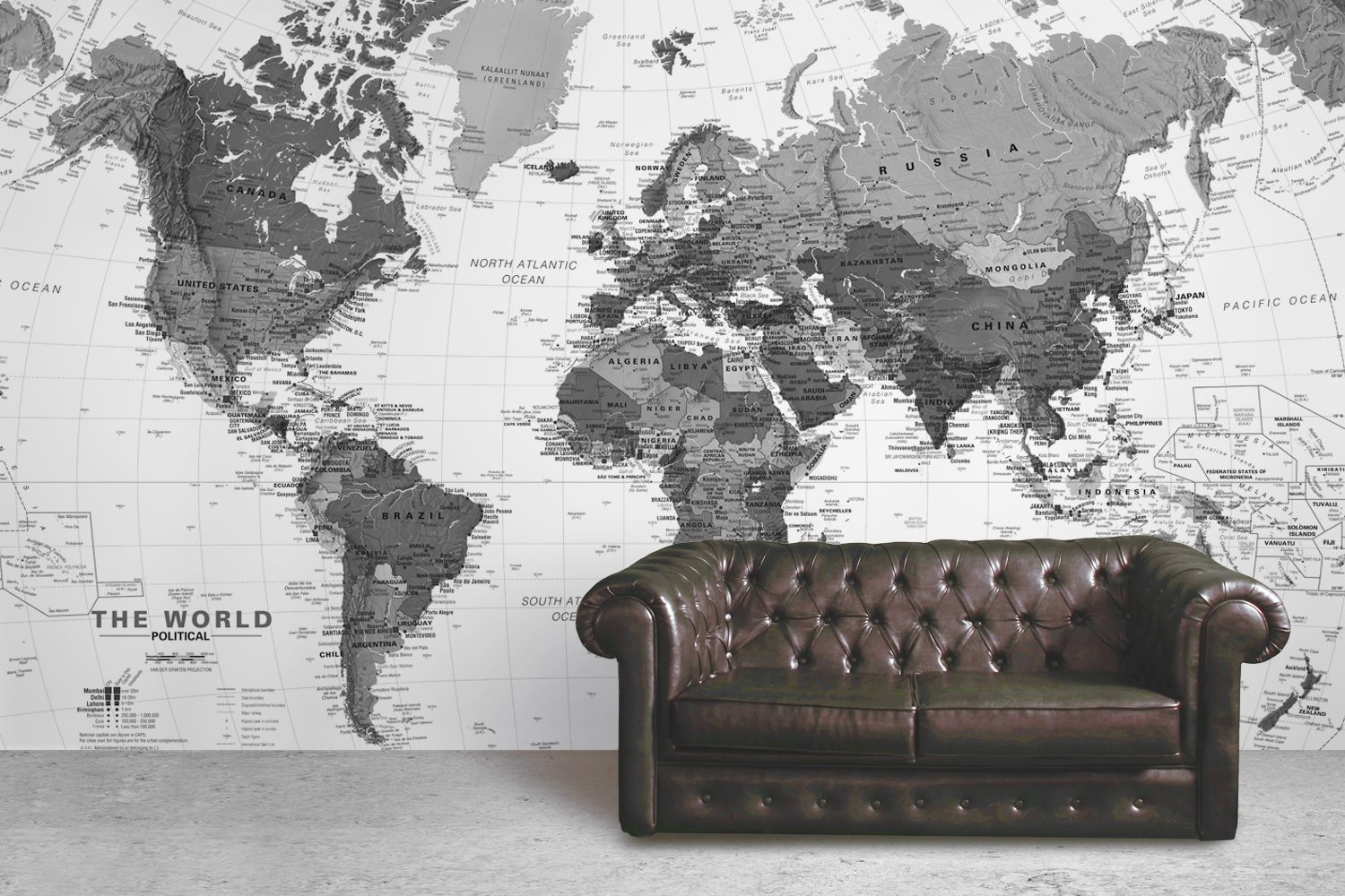 Capital city world map wall mural muralswallpaper design black and white detailed map mural gumiabroncs Choice Image