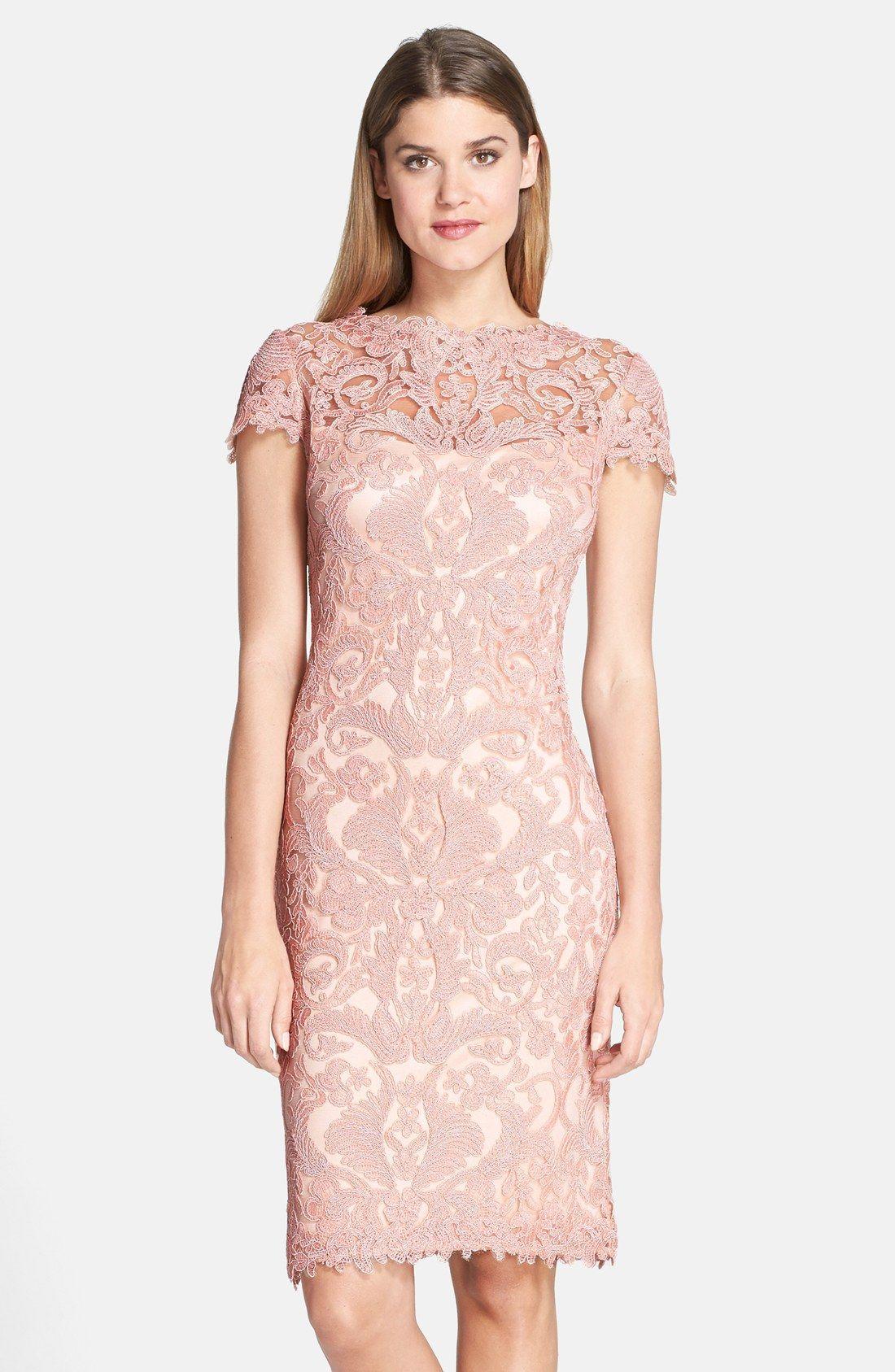 Tadashi Shoji Illusion Yoke Lace Sheath Dress (Regular & Petite ...