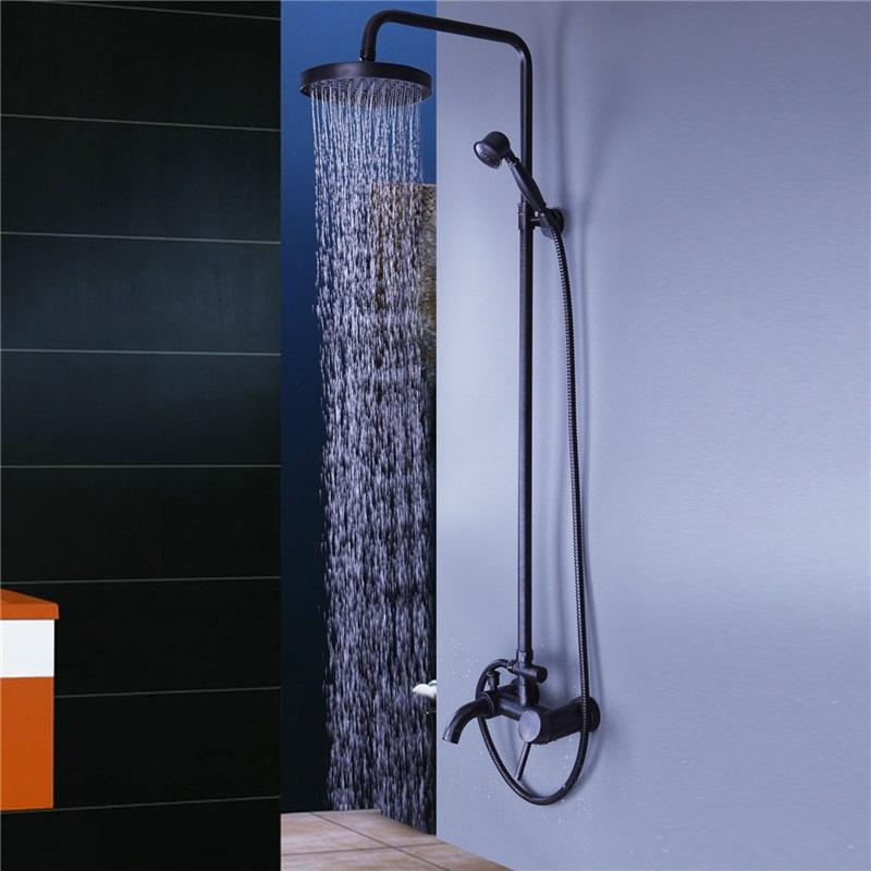 Photo of Black bathroom shower idea exposed pipe shower