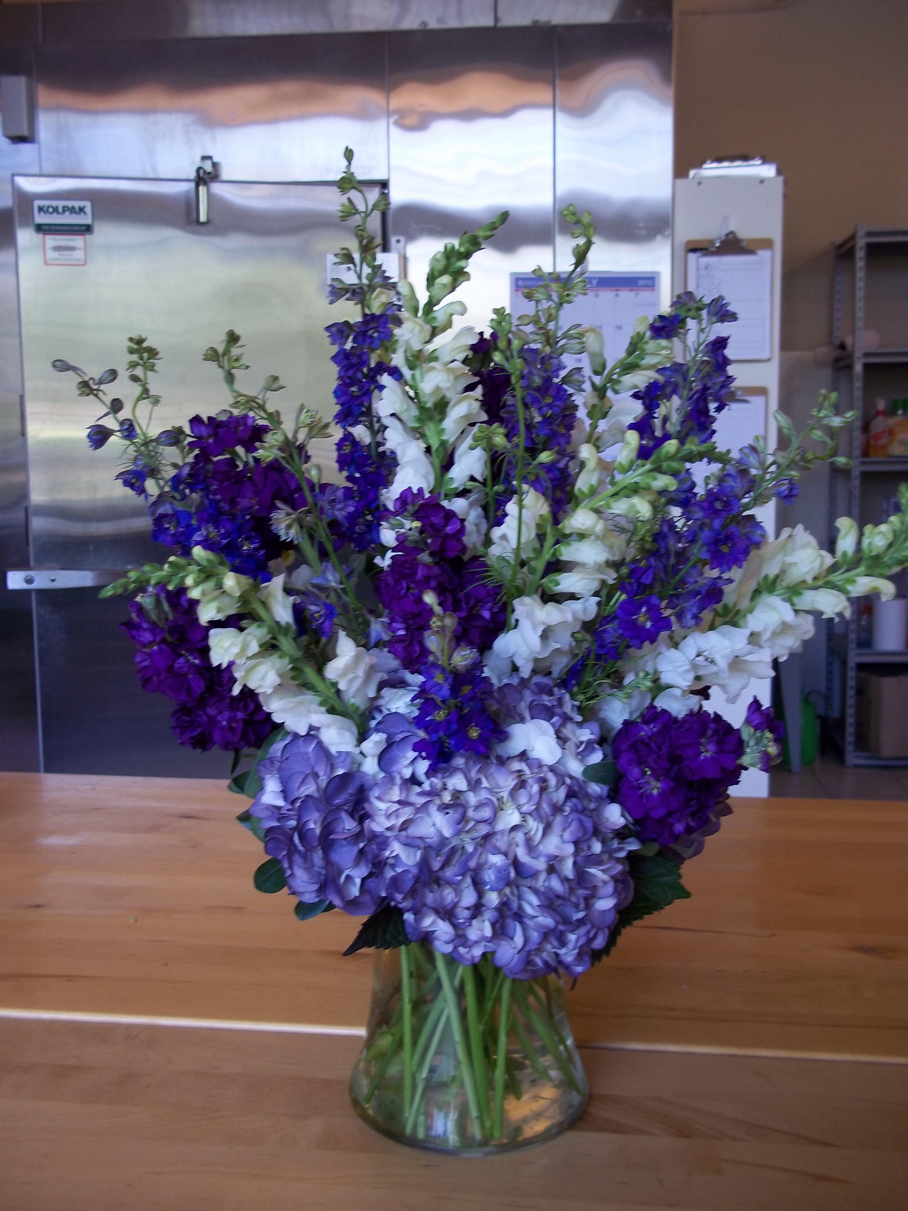 Purple Hydrangeas Along With Purple Larkspur Stock And White