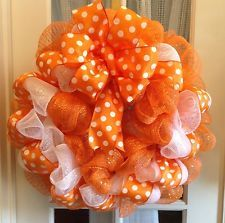 """Orange polka dot deco mesh wreath-19""""diameter"""