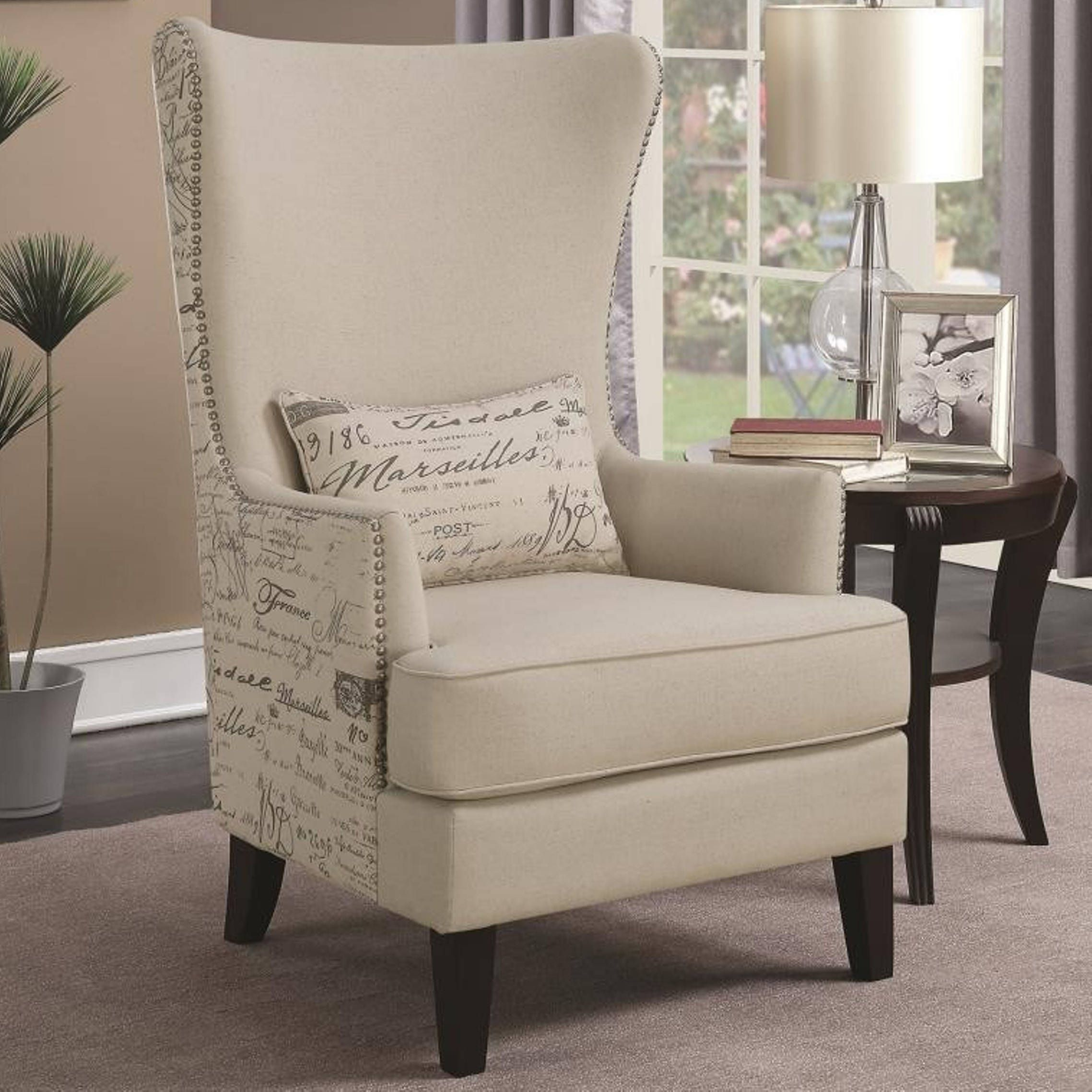 Best Modern French Script Design Curved High Back Accent Chair 400 x 300