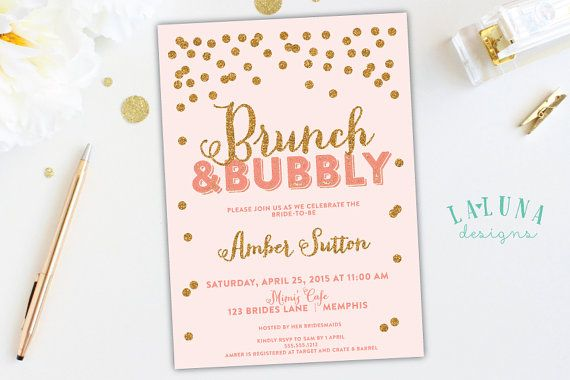 Bridal Shower Invitation Brunch Bubbly Bridal Shower Confetti