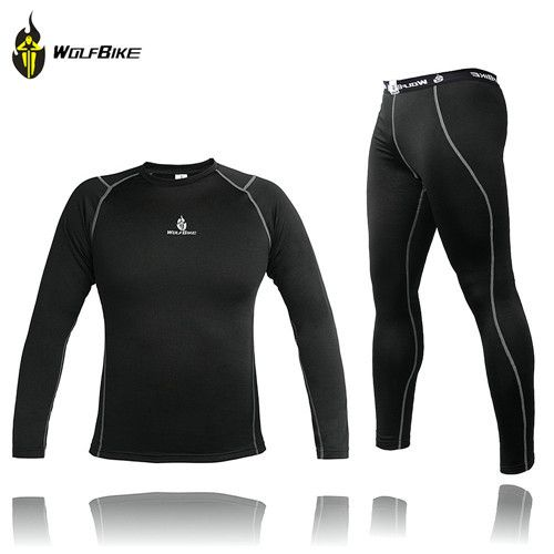 b8a3d6213 WOLFBIKE Men Thermal Fleece Base Layer Compression Clothing Under Wear  Cycling Bike Long Sleeve Jersey Winter Runing Tights
