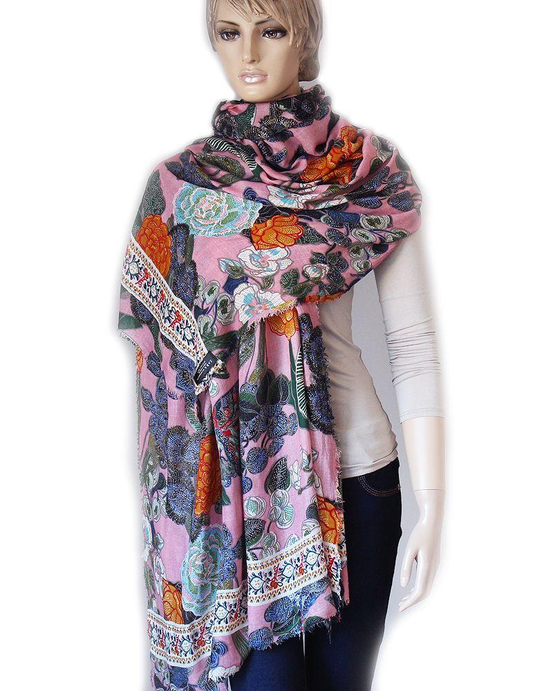 Zara Duzy Kwiatowy Szal Chusta Delikatna Bawelna 7299370672 Oficjalne Archiwum Allegro Fashion Scarf Winter Scarf