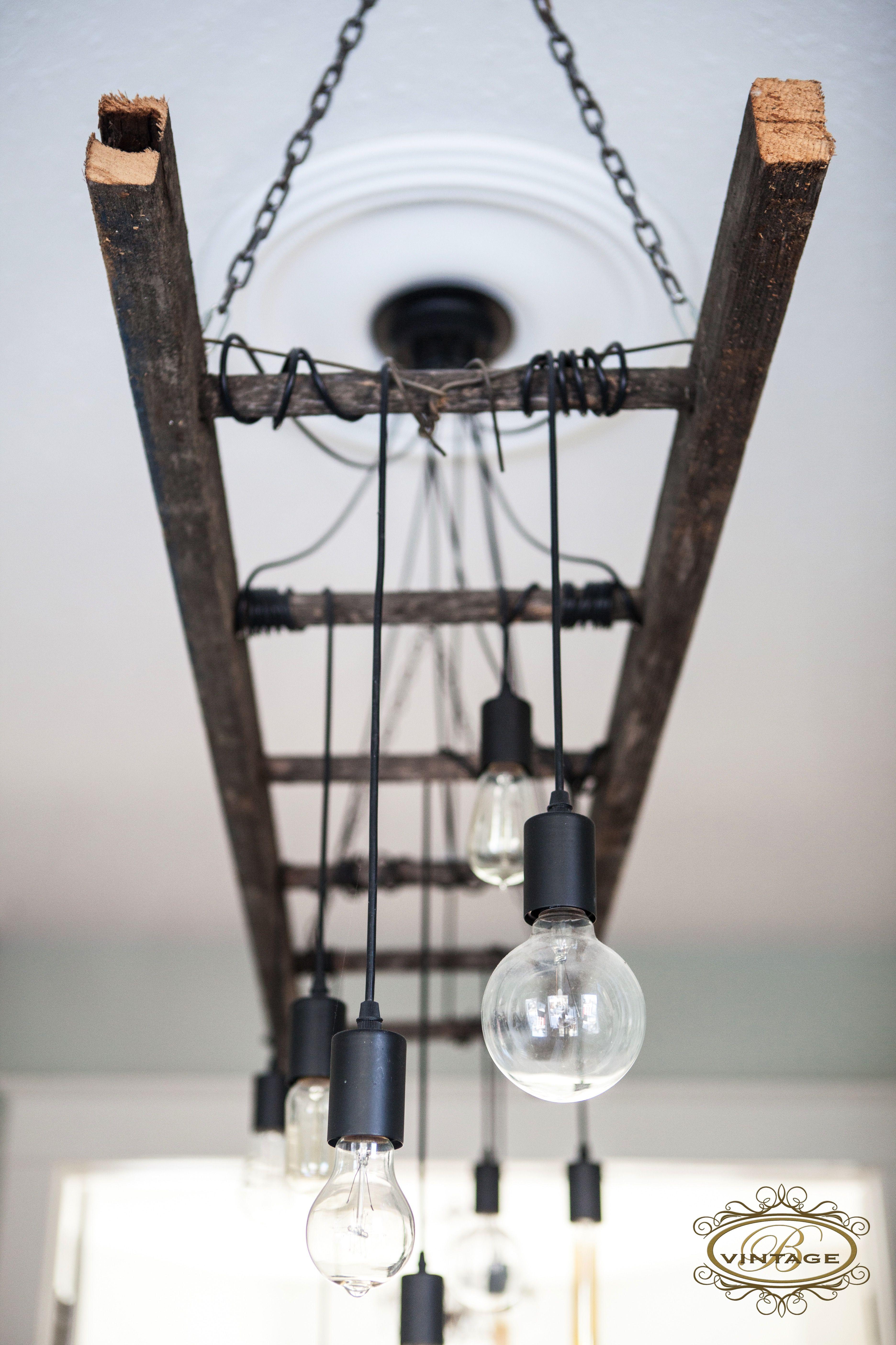 Edison Chandelier Edison Bulb Ladder Light Industrial Decor