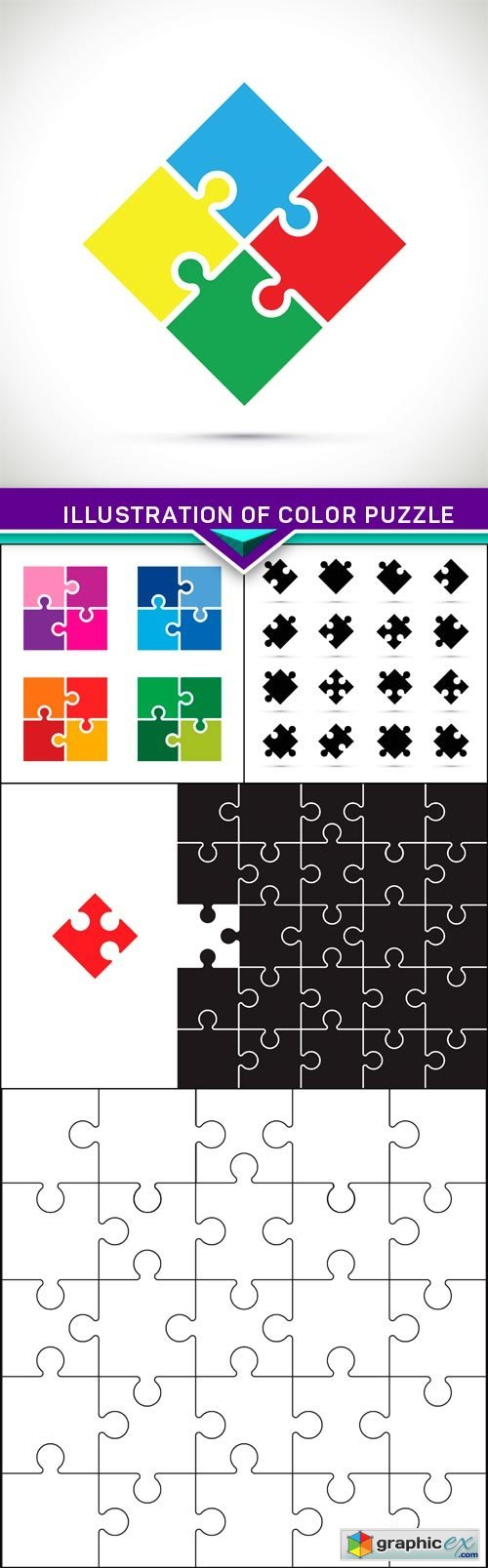Illustration of color puzzle 5X EPS
