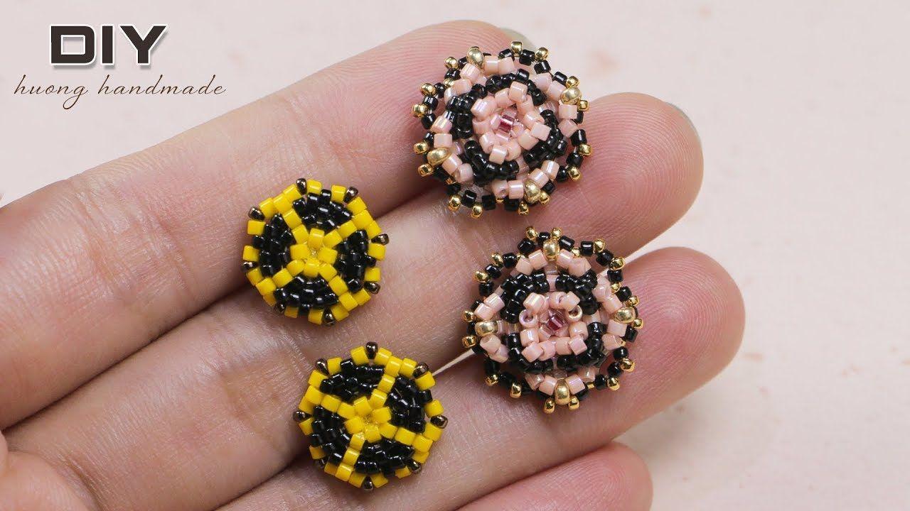 Beaded Stud Earrings Diy 2 Patterns In 1 Tutorial Earring