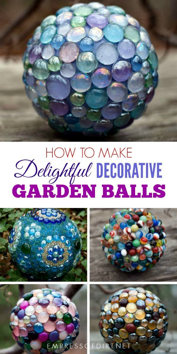 How to Make Decorative Garden Art Balls (Expert Tips) is part of Garden balls, Diy garden projects, Garden projects, Outdoor crafts, Garden ornaments, Garden globes - Garden balls tutorial showing how to make garden art balls with bowling balls or lamp globes and flat marbles