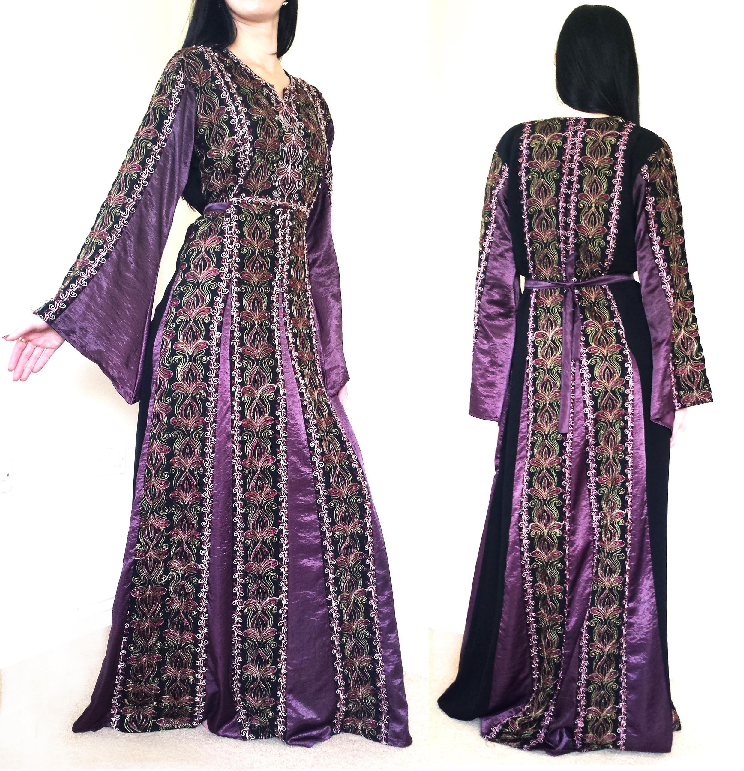 PURPLE BLACK Arabian traditional Dress Jilbab Hand Beaded ...