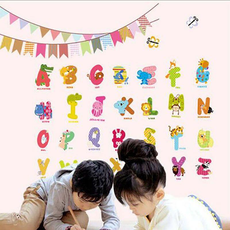 Color Alphabet Animals Shape Stickers Removable Transparent