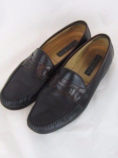c27edb0c0ae Johnston   Murphy Black Moc Toe Slip On Penny Loafers Shoes Men s 11 M  Italy  JohnstonMurphy  LoafersSlipOns