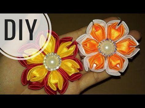 Youtube Kanzashi Flowers Ribbon Flowers Diy Kanzashi Tutorial