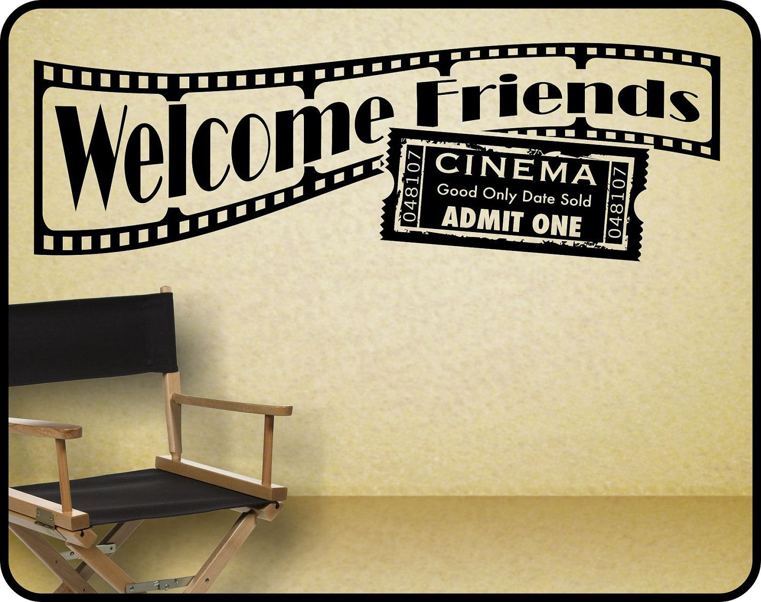 home theater wall decal sticker decor welcome friends with hollywood movie theme 38 x 12 - Home Theater Decor