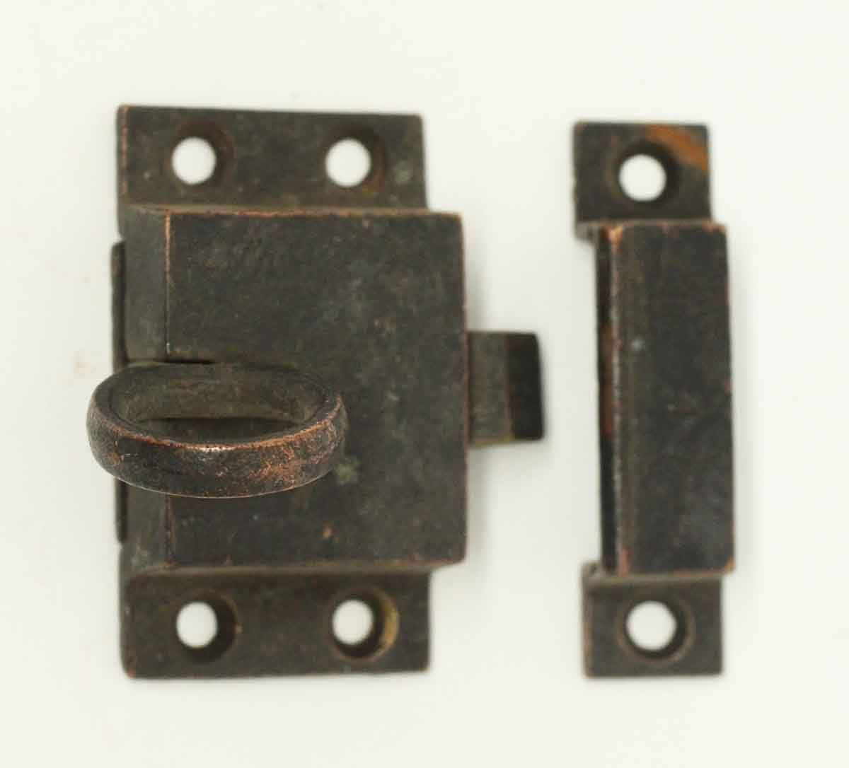 Antique simple bronze ring pull cabinet latch with matching keeper. Priced  each. - Old Bronze Ring Pull Cabinet Latch CROLO: Family Room Console