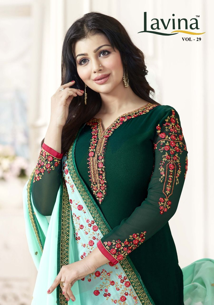 Lavina vol heavy long straight georgette with heavy embroidery
