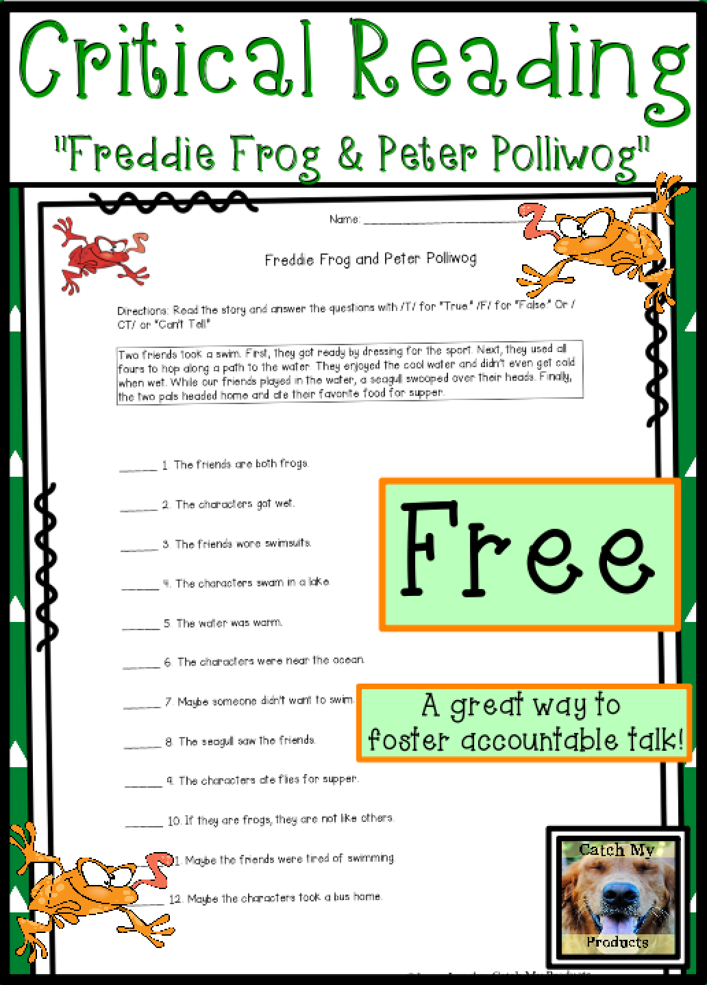 Open Response Questions FREE | Reading comprehension ...
