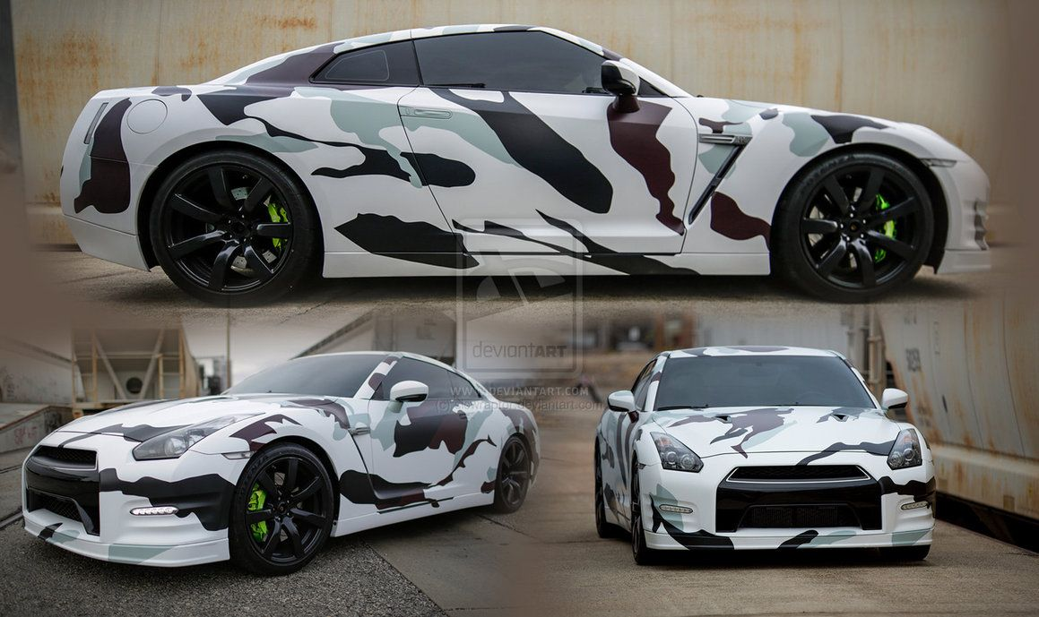 snow camo nissan gtr carwrapping wrap vehicle. Black Bedroom Furniture Sets. Home Design Ideas