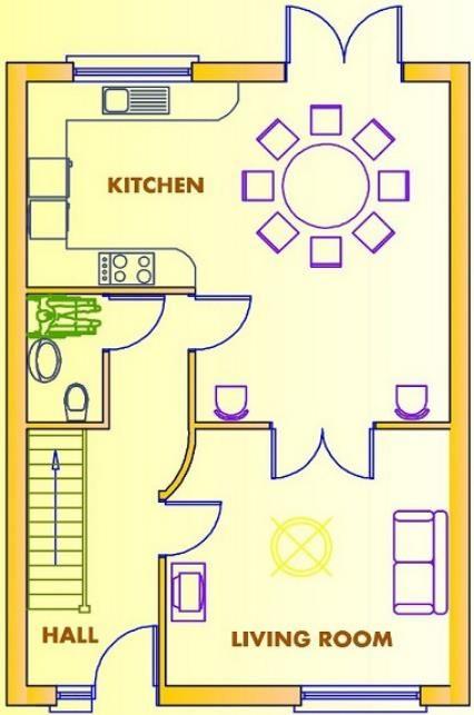 Plano de casa de 2 pisos con 3 dormitorios y 110 metros for Casa 2 plantas 160 metros cuadrados