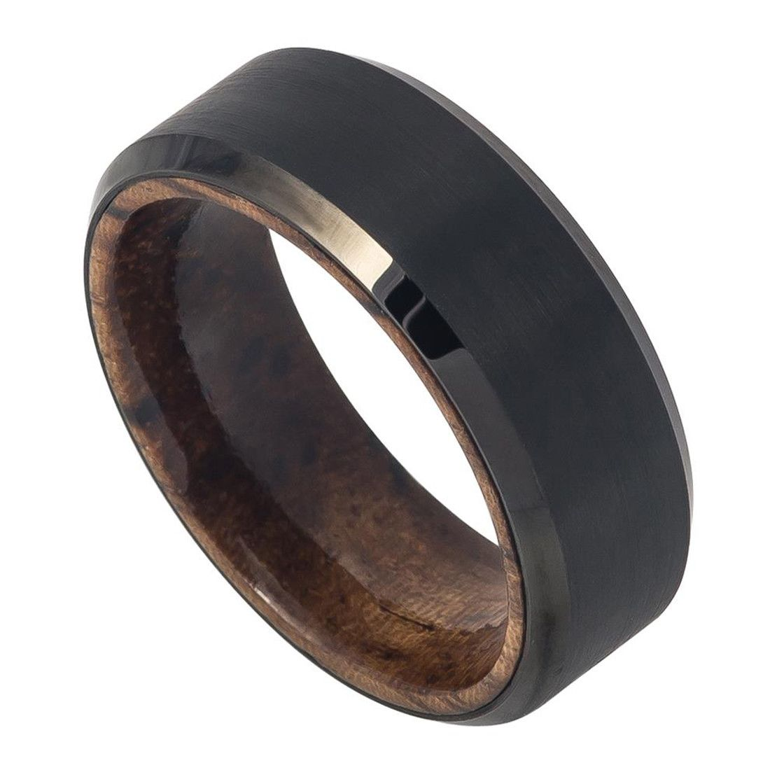8mm Men Tungsten Wedding Band Ring Black Ip Plated Brushed Finish Beveled Edge With African Sapele Mahogany Wood Sleeve Inner