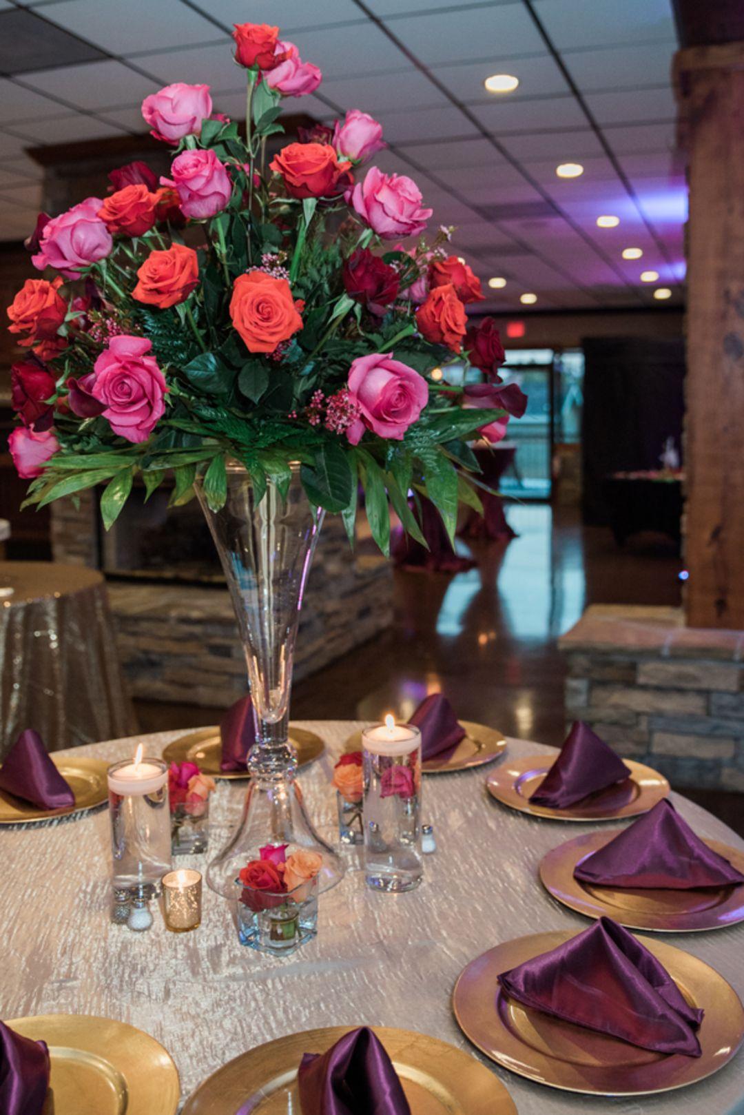 Purple fuchsia u coral wedding at stone river west columbia sc