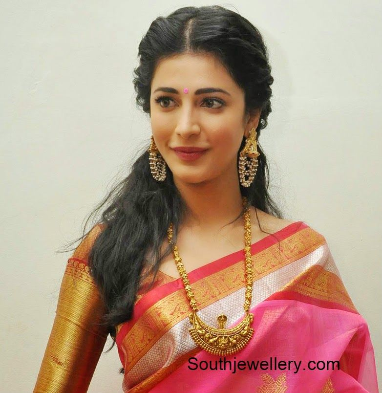 Shruti Han In A Silk Saree And Blouse Love The Earrings Necklace Bollywood Fashion