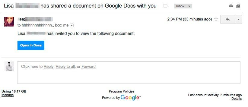 Be very careful when someone emails you a google doc link