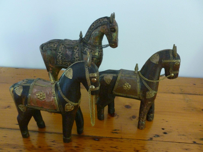 Antique Hand Carved Wooden Horse Hammered Copper Brass