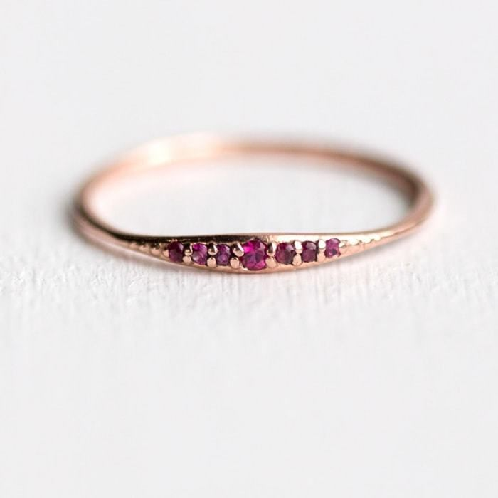 Ruby tiny line band shown in solid 14k rose gold handmade by