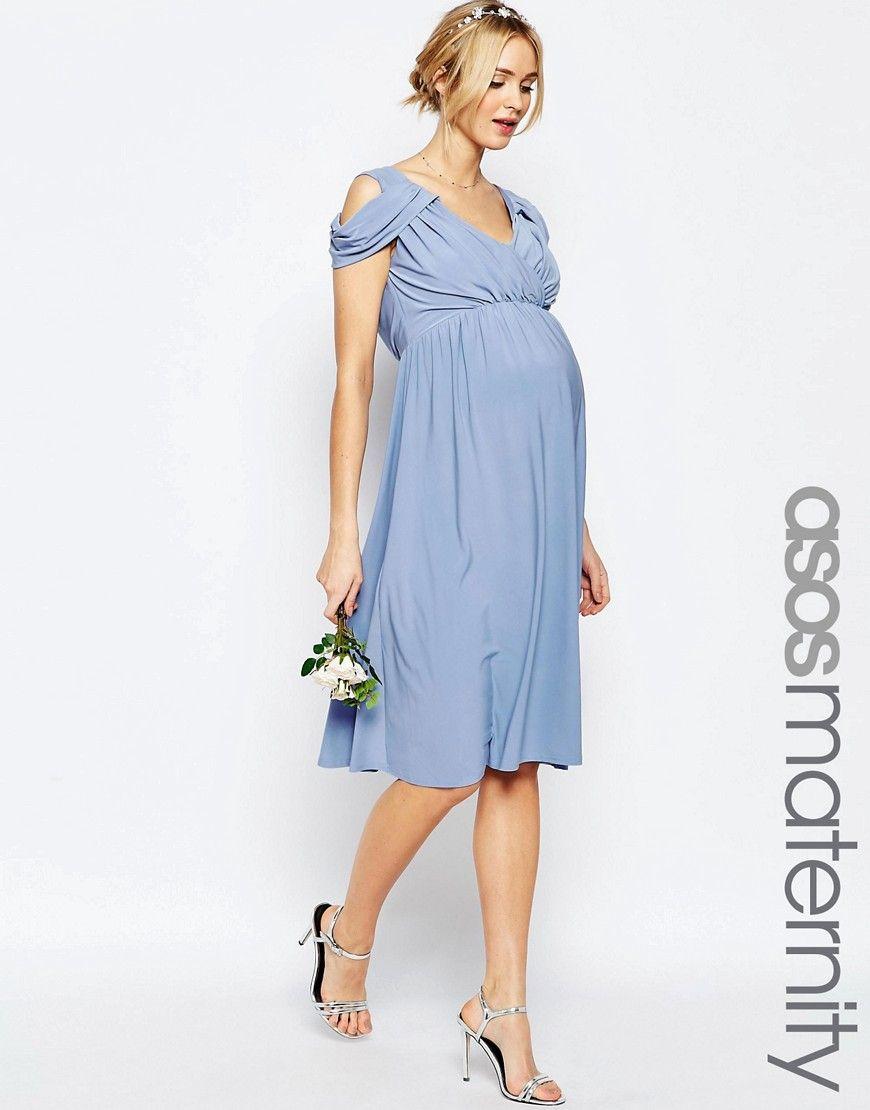 ASOS+Maternity+WEDDING+Drape+Cold+Shoulder+Midi+Dress | Maternity ...