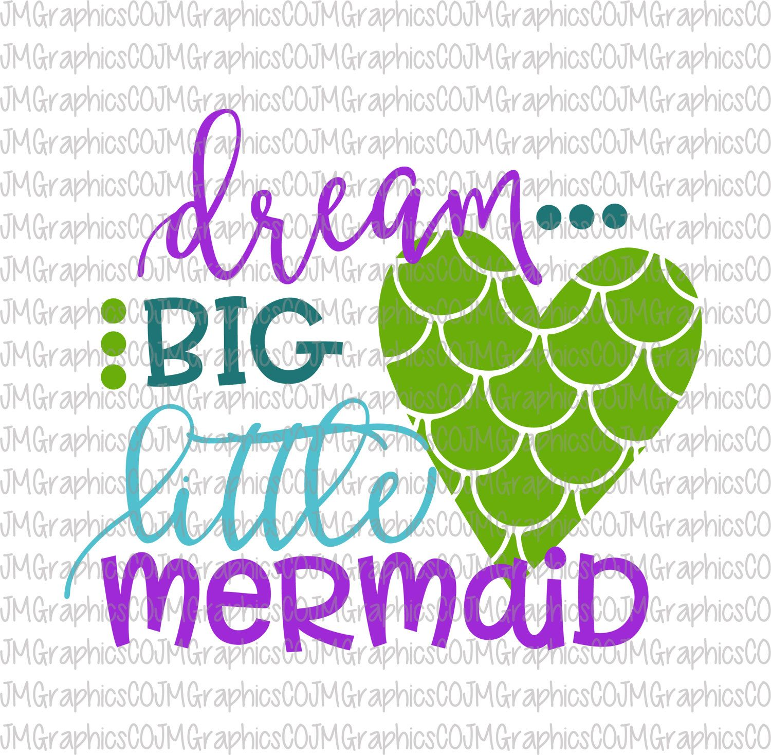 Dream big little mermaid svg eps dxf png cricut cameo