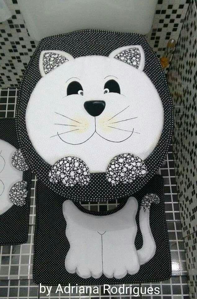 Juego de baño modelo gato | juegos de baños | Pinterest | Juegos de ...