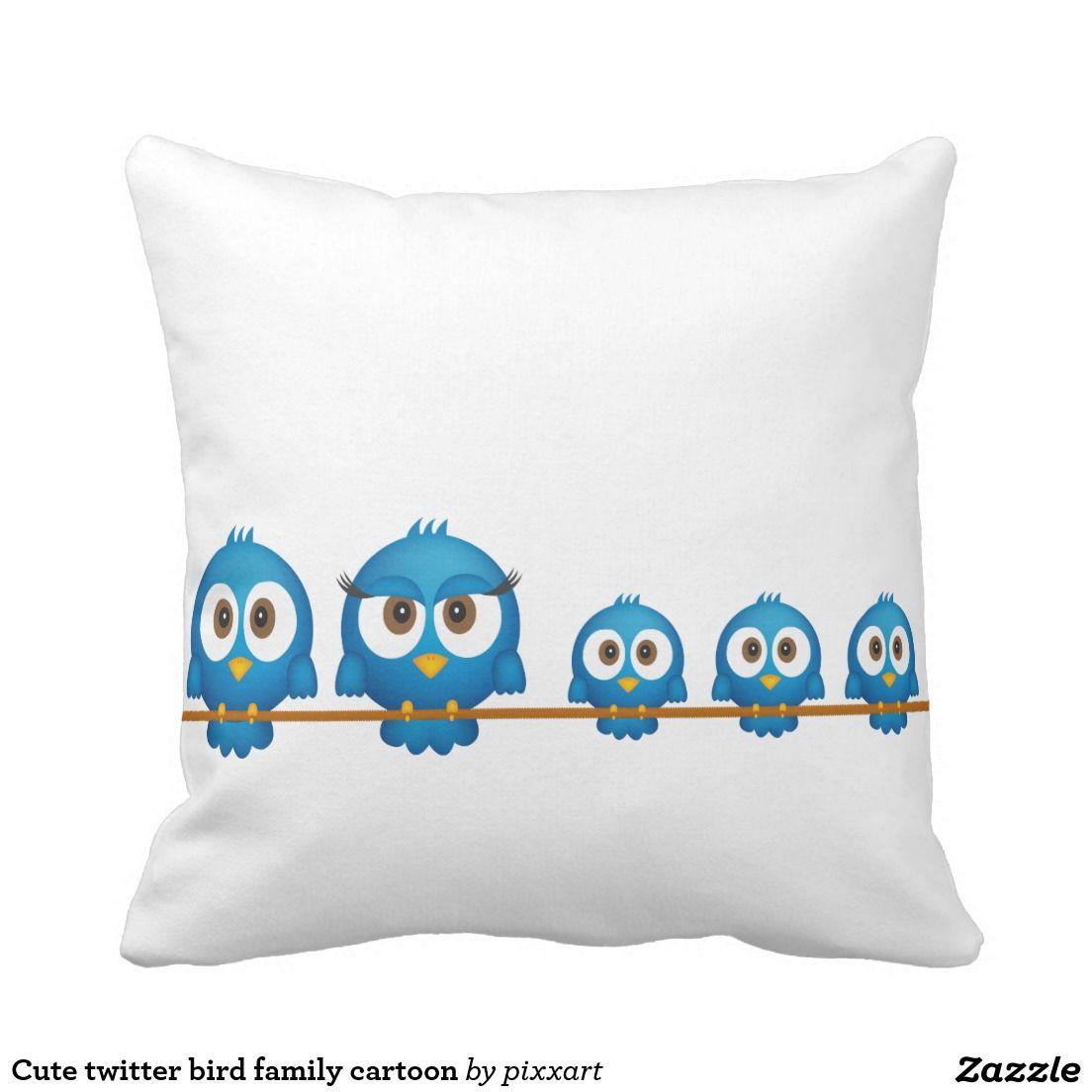Cute twitter bird family cartoon throw pillow